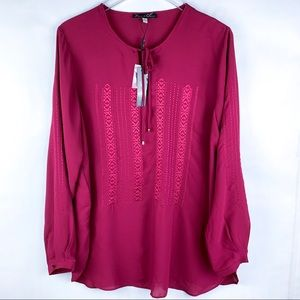 Rose & Olive Sheer Embroidered tunic